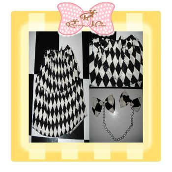 B and W diamond check skirt by RococoNeko