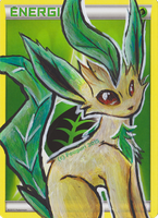 Painting on Energy Pokemon Card 001 - Leafeon by Fouguri