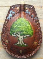 Oak tree and acorns leather flask by Eclectixx
