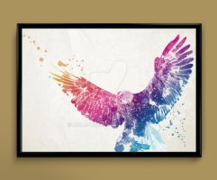 Watercolor Art -  Eagle print by ColourInk