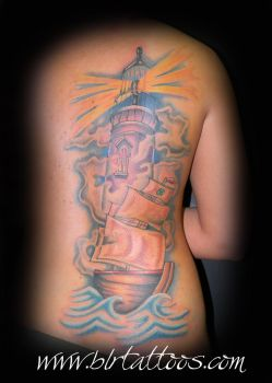 Lighthouse Tattoo by blrtattoos