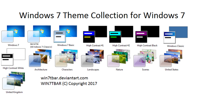 Windows 7 Theme Collection for Windows 7 by WIN7TBAR