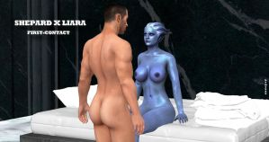 Shepard X Liara   FIRST-CONTACT   9-11-2014 by blw7920