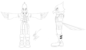 SSBB Falco Lombardi Line Art by GunZcon