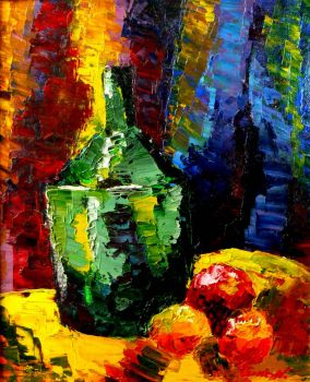 Still life with green bottle by LaCelta
