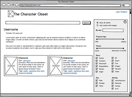 Character Closet, User View - UX Wireframe by ElizaWyatt