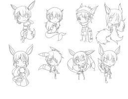 Eeveelution Gijinka - Line Art by Michi-Otaku