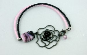 Pink and Black Rose Bracelet by michelleaudette