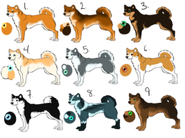 Shiba and husky adopts 3-5 points! by Blu3Dawn14