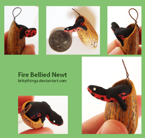 Nut Pendant Fire Bellied Newt - SOLD by Bittythings