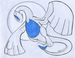 Lugia and the Moon by QuetzalLeo