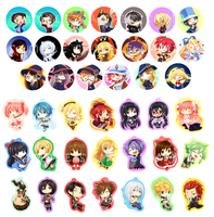 AX Buttons and keychains list by Pokey-Chan