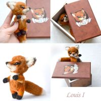 Louis I. Red fox with painted box. OOAK by SulizStudio