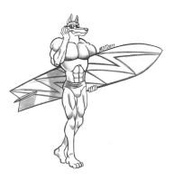 Blitz and his Surfboard by MDTartist83