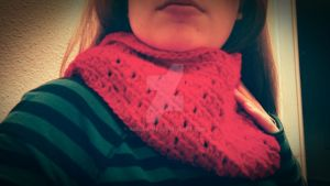 Red Crochet Infinity Scarf by Akeelahh
