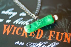 severed zombie finger necklace by PoisonedAppleAcc