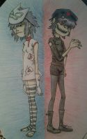 Noodle and Cyborg Noodle by LuCkYrAiNdRoP