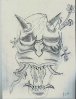 Hannya mask sketch by flaviudraghis