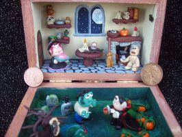 WITCH'S HALLOWEEN PARTY polymer clay diorama by SelloCreations