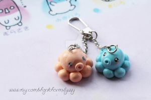 SALE- Kawaii Octopus Polymer Clay Bag Charm by CharmsByIzzy