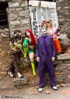 The Scarecrow, Poison Ivy, The Joker, and Harley 1 by Insane-Pencil