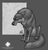 Sketch: Grumpy Wolf by Noukah