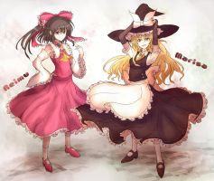 Toho Project:Reimu and Marisa by yodori