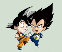 DBZ: Goku n Vegeta Chibis by Mary-McGregor
