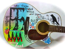 Personalized hand painted guitar THE BEATLES by alcat2021