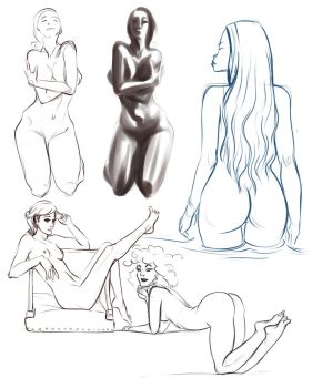 Nude sketches by AnirBrokenear