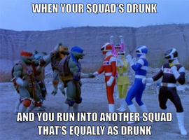 Squads making friends by onyxcarmine