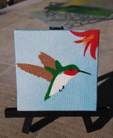 Small Hummingbird canvas and easel by Dorigard