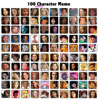 100 Female Characters Meme by FalseDisposition