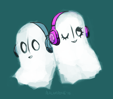 Napstablook and Fabstablook by alalampone