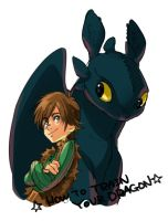 Hiccup and Toothless by Umintsu