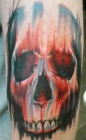 coloured skull tattoo by ubertattooist