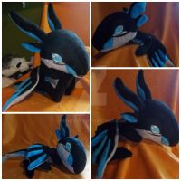 Neon shoulder dragon plush by nightelfy