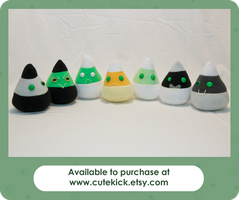 Ghost Monster Candy Corn Plushies Glow in the Dark by cutekick