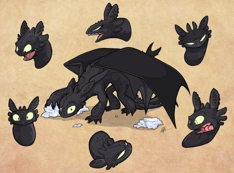 Many Expressions of Toothless by secoh2000