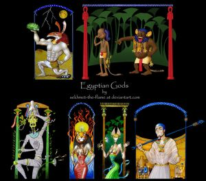 Cartoon Style Egyptian Gods