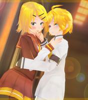 [MMDxPhotoshop] -Rin and Len- by KavaykaChan
