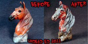 Ulysses Zombie Horse Bust Comp by Undead-Art