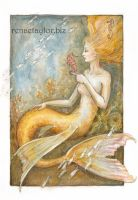 Mermaid with seahorses by AvantFae