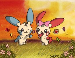 Plusle and Minun Colored by Daidolly