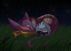 Liepard and Woobat by aWWEsomeSoph