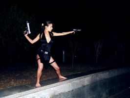 Lara Croft shooting by TanyaCroft