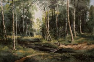 Brook in Birch Forest by Astartte