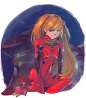 Asuka from Evangelion digital painting by GiuliaPriori
