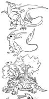 Pokemon sketches by AbelPhee
