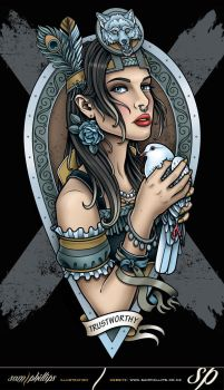 Trustworthy Hunter with Dove Tattoo Style by Sam-Phillips-NZ